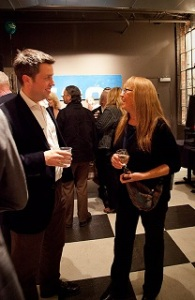 Author Mark Pritchard chats with ASP and Billy Christmas fan Betty Tate at the launch party at Jackie's Restaruant in 2012